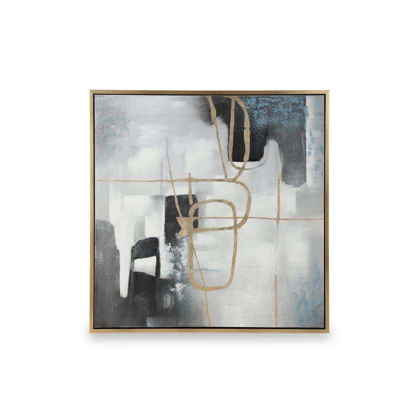 Framed Canvas Art, Abstract (100 cm X 100 cm - Multicolour/Gold Foil)