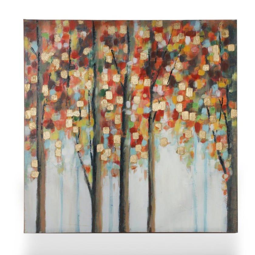 Birch Trees Canvas Art, Multicolour - 76.2x76.2 cms