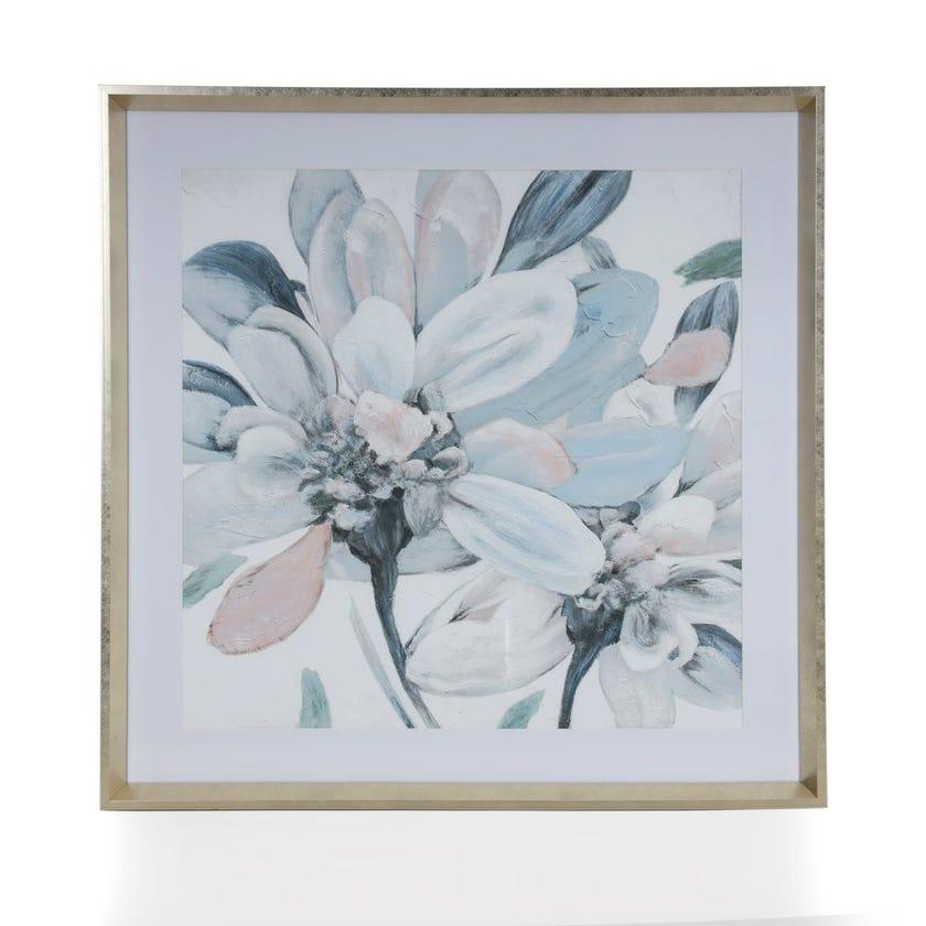 Underglass Flower Framed Art, Multicolour - 76.2x76.2 cms