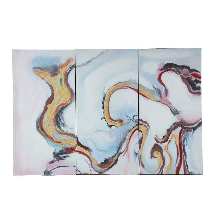 Set of 3 Pink Colorful Canvas Art, Multicolour - 90x60 cms
