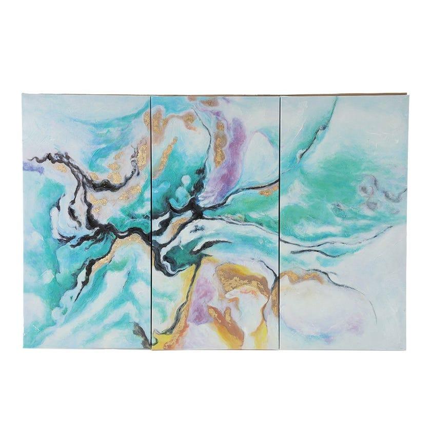 Set of 3 Green Colorful Canvas Art, Multicolour - 90x60 cms