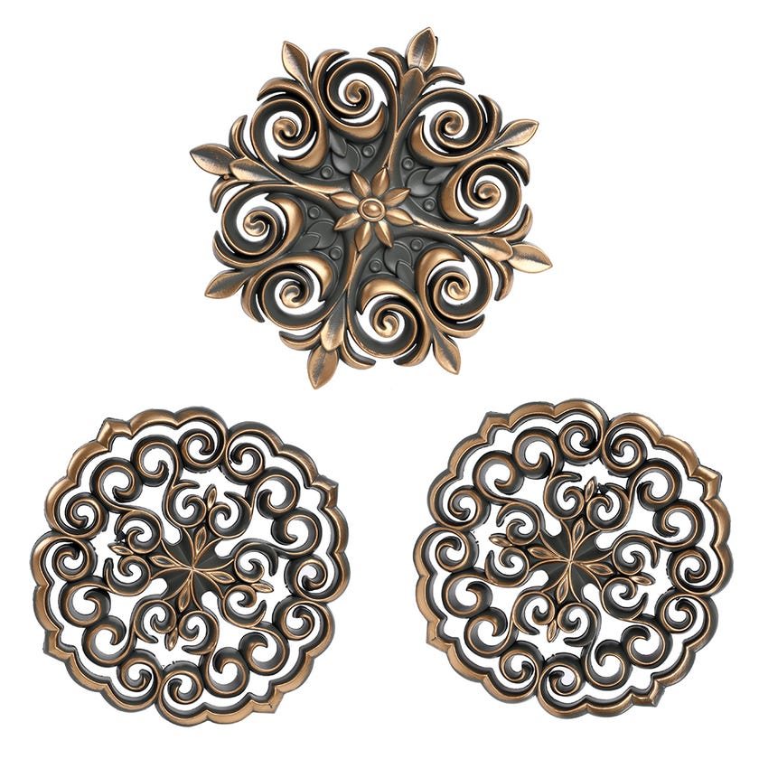 3-Piece Decorative Wall Accent Set, Grey/Gold