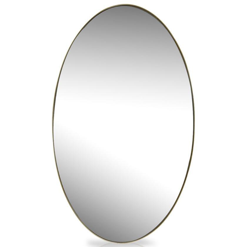 Nordic Oval Metal Decorative Mirror, Gold – 60x100 cms