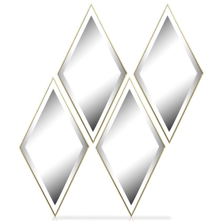 4-Pieces Diamond Decorative Mirror Set, Gold – 61x30.5 cms