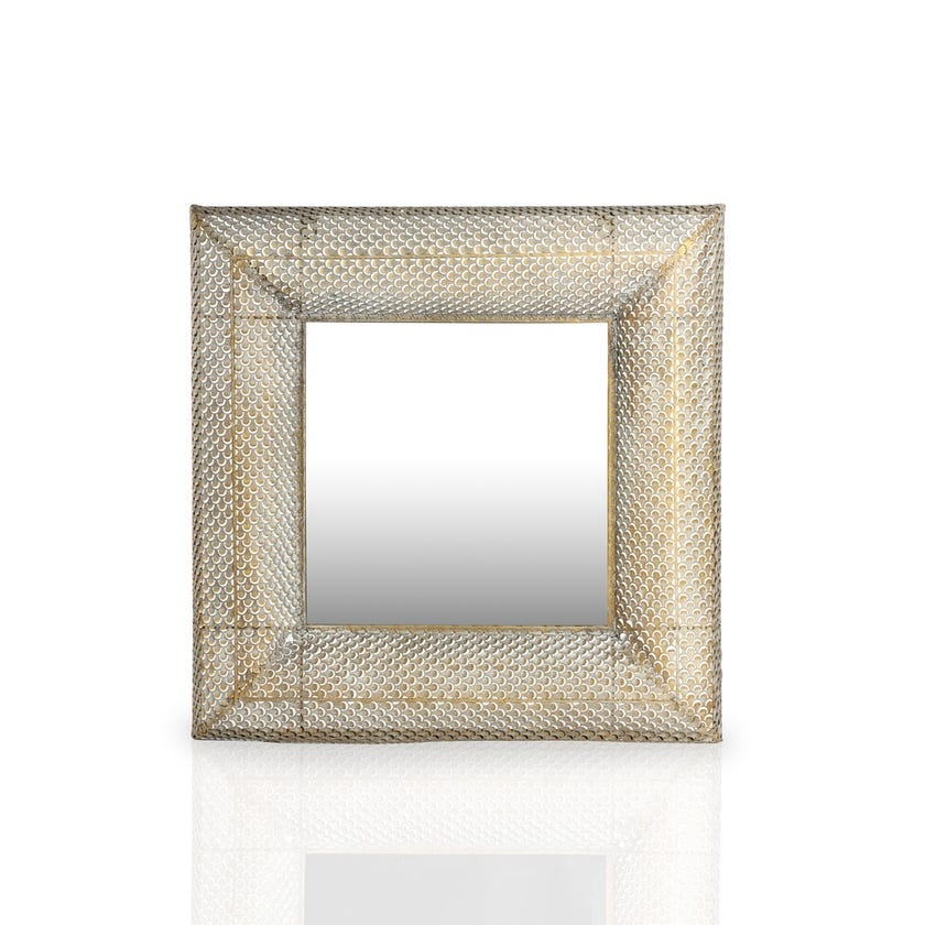 Metal Mirror (60.5 x 60.5 cms, Gold and Grey)