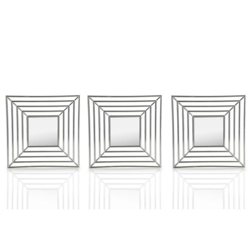Trever 3-Piece Decorative Mirror Set (78.5 x 26.5 cms, Silver)