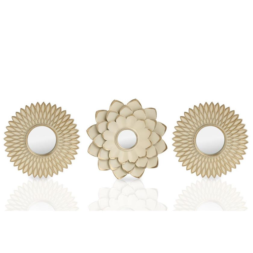 Victoria 3-Piece Decorative Mirror Set (73.5 x 31.5 cms, Cream Brushed Gold)