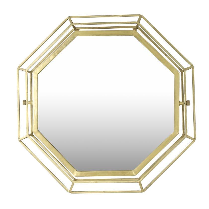 Avalon Hexagon Metal Wall Mirror - Gold