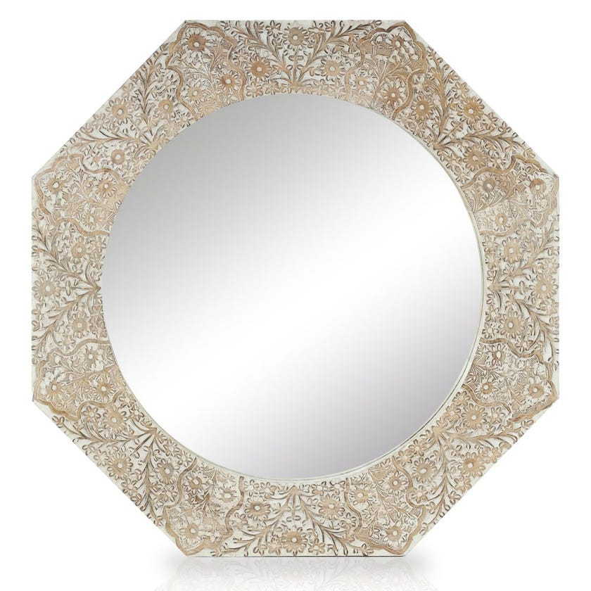 Virginia Mirror with Frame, Natural & White - 75x75 cms
