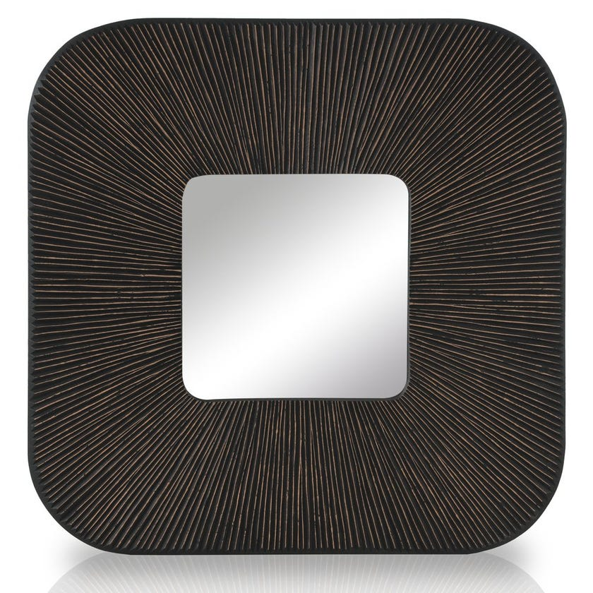 Worcester Mirror with Frame, Brown & Black - 90x90 cms
