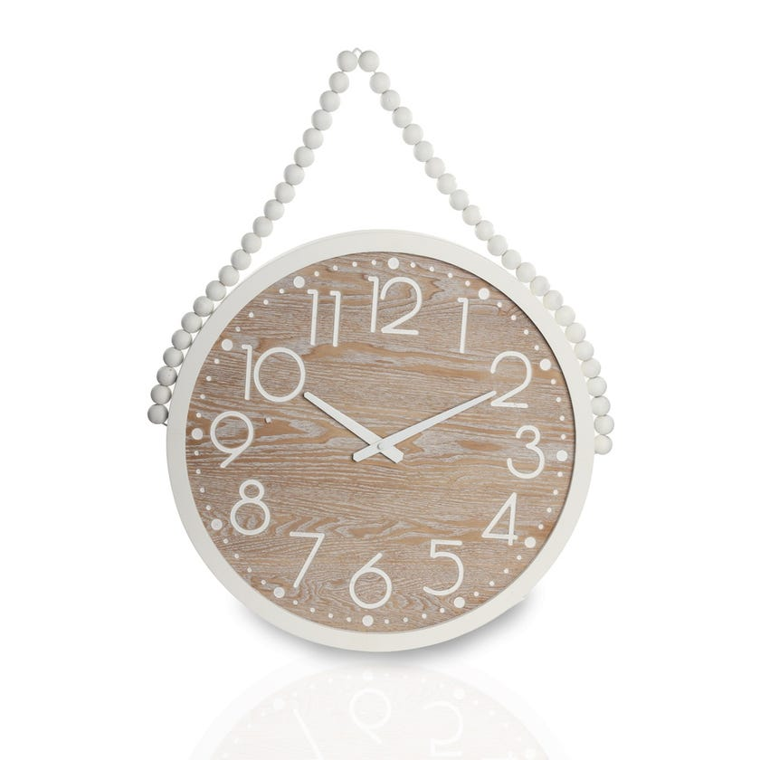Hanging Clock - White and Brown