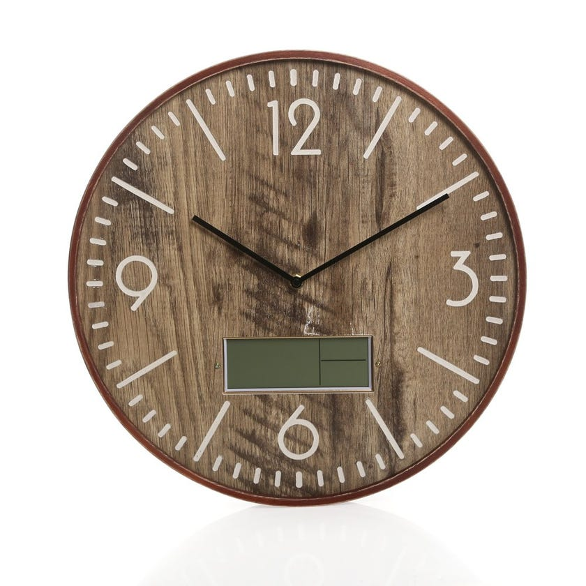 Adam Metal Wall Clock with LCD, Brown