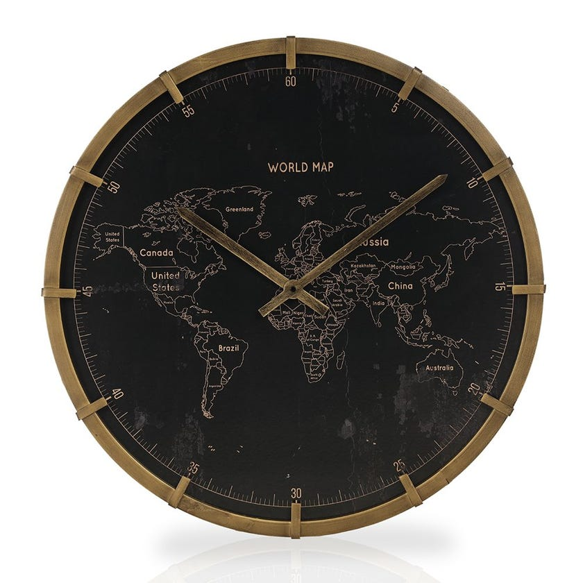 Agnes Wall Clock, Black and Gold