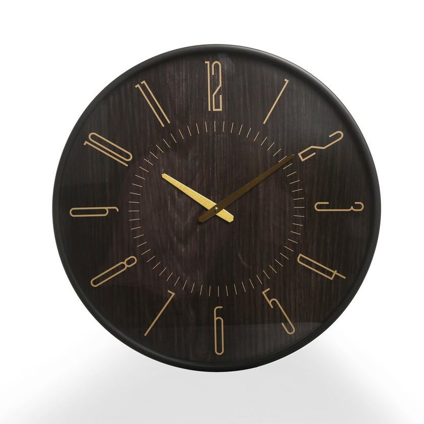 Andres Plastic Wall Clock, Black and Gold