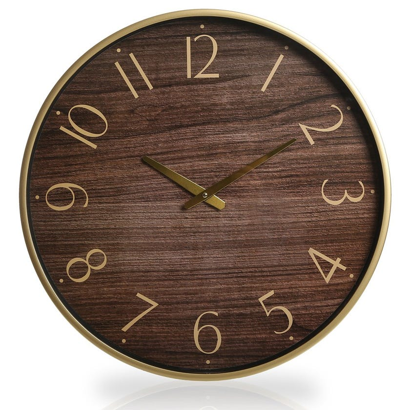 Milford Plastic Wall Clock, Brown and Gold