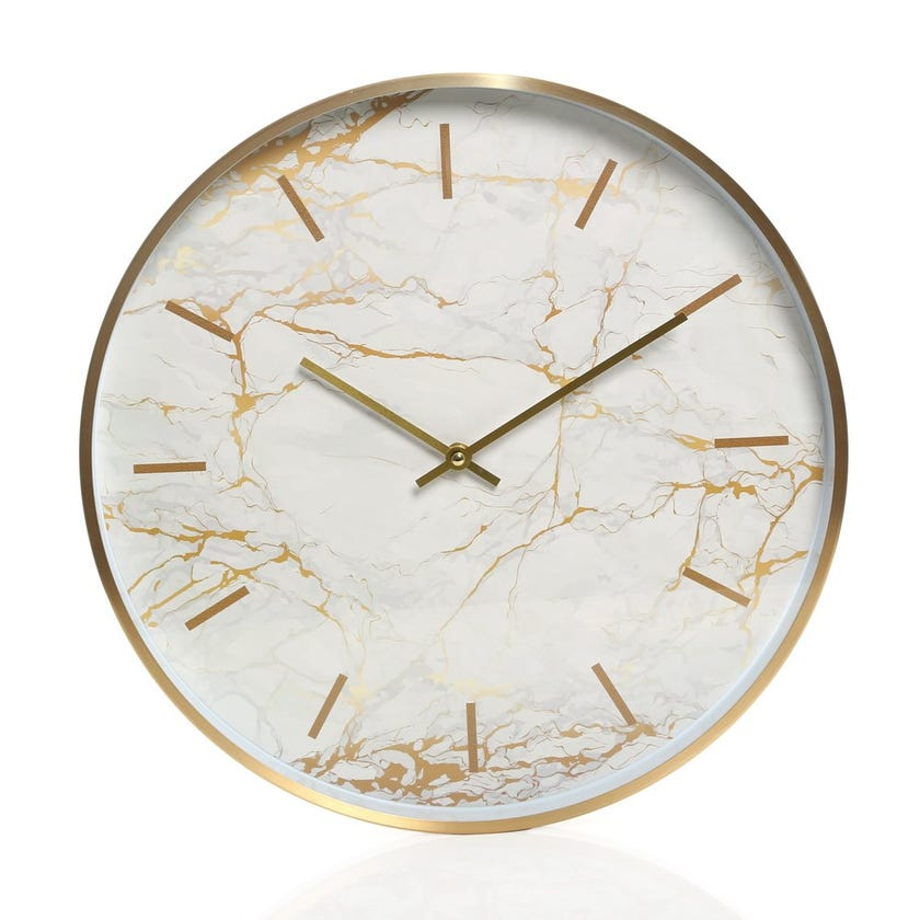 Rhodes Aluminum Wall Clock, White and Gold