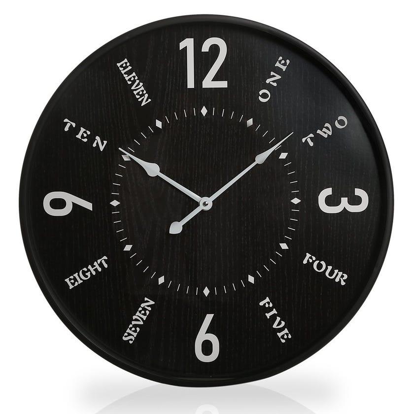 Empress Plastic Wall Clock, Black and White
