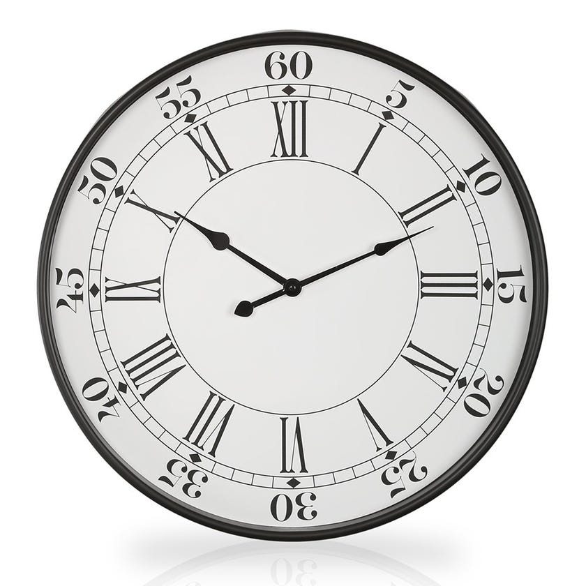 Seattle Plastic Wall Clock, White and Black