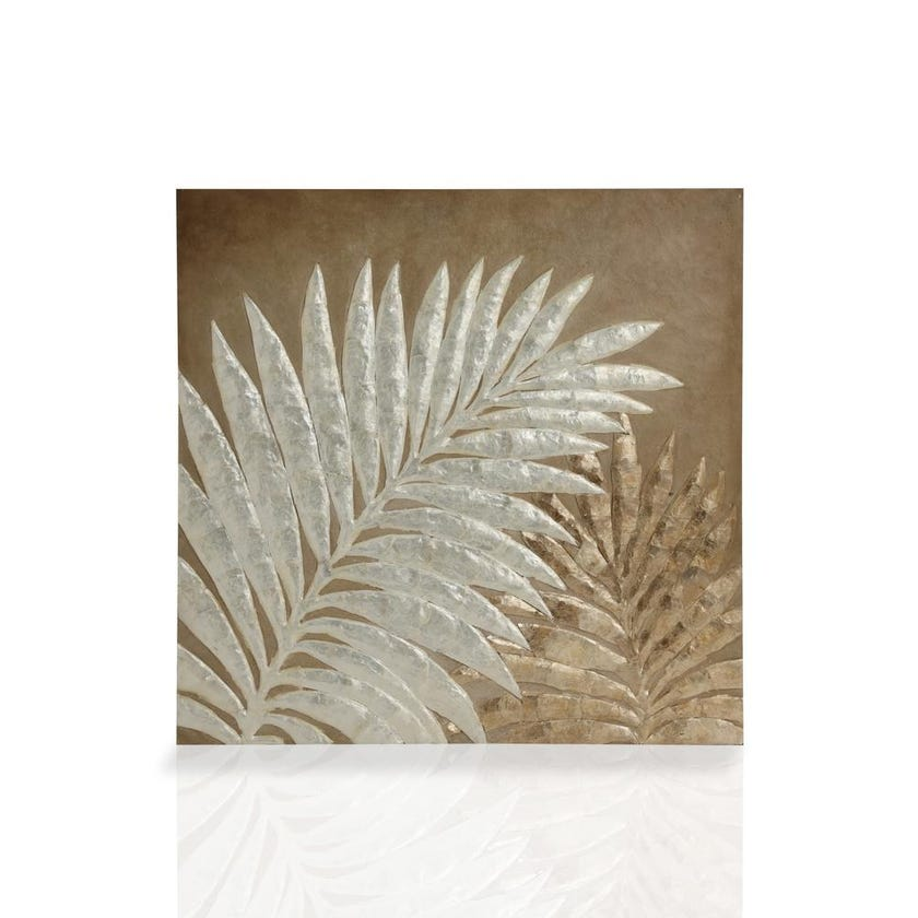 Palm Wall Panel (76 x 76 cms, White and Gold)