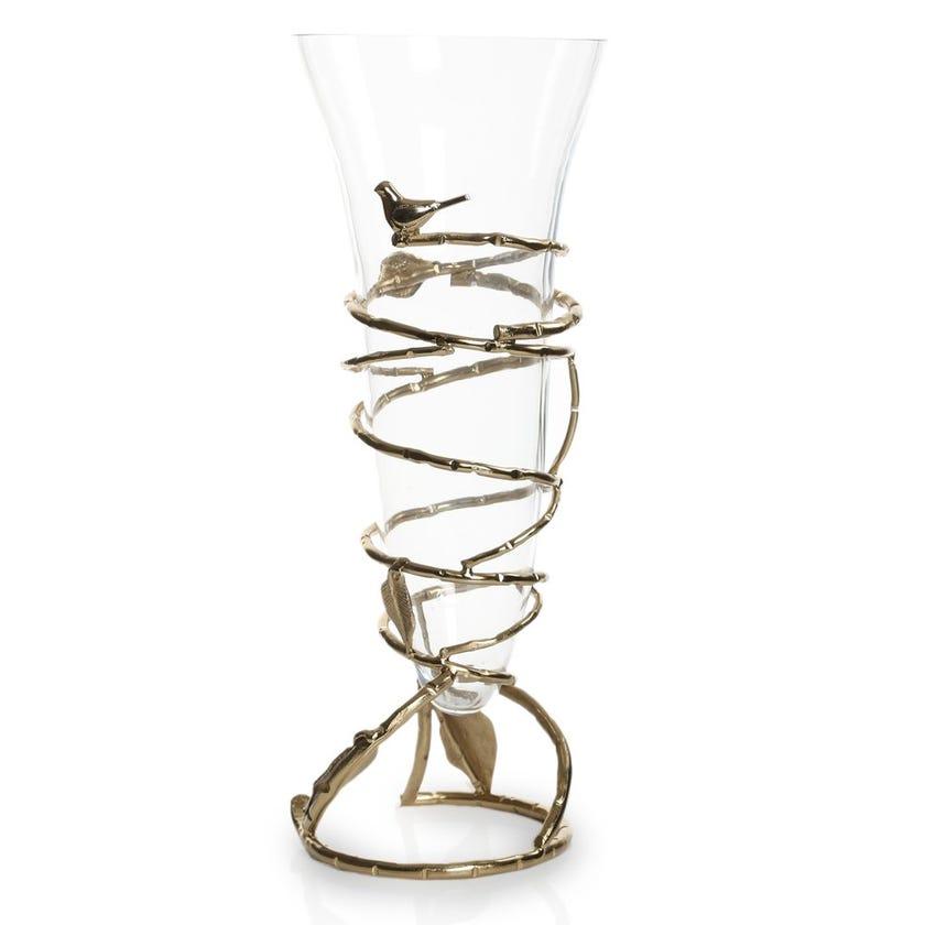 Birdie Flower Vase, Gold & Clear