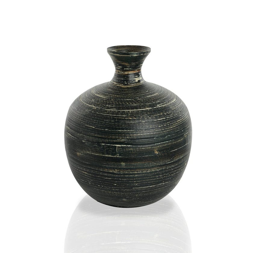 Navy Bamboo Vase with Lacquer, Large