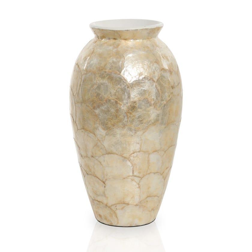Rhombus Capiz Ceramic Vase, Beige – 41 cms