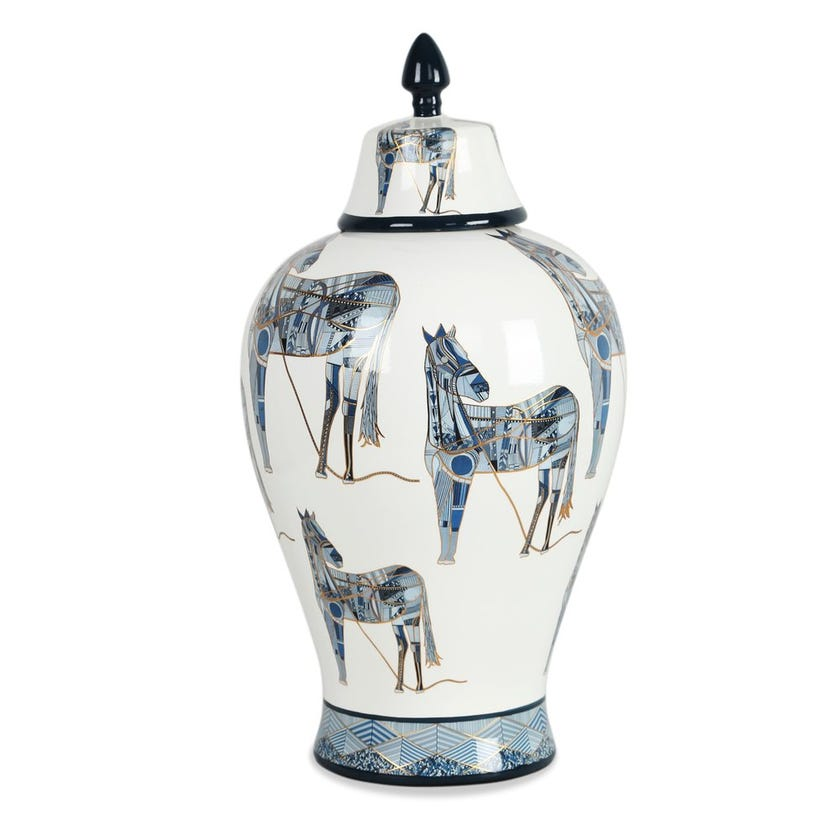 Caddey Jar, Blue and White – 38x20 cms