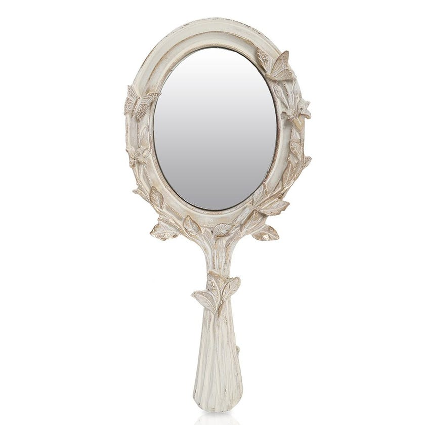 Anourah Hand Mirror, Gold & White