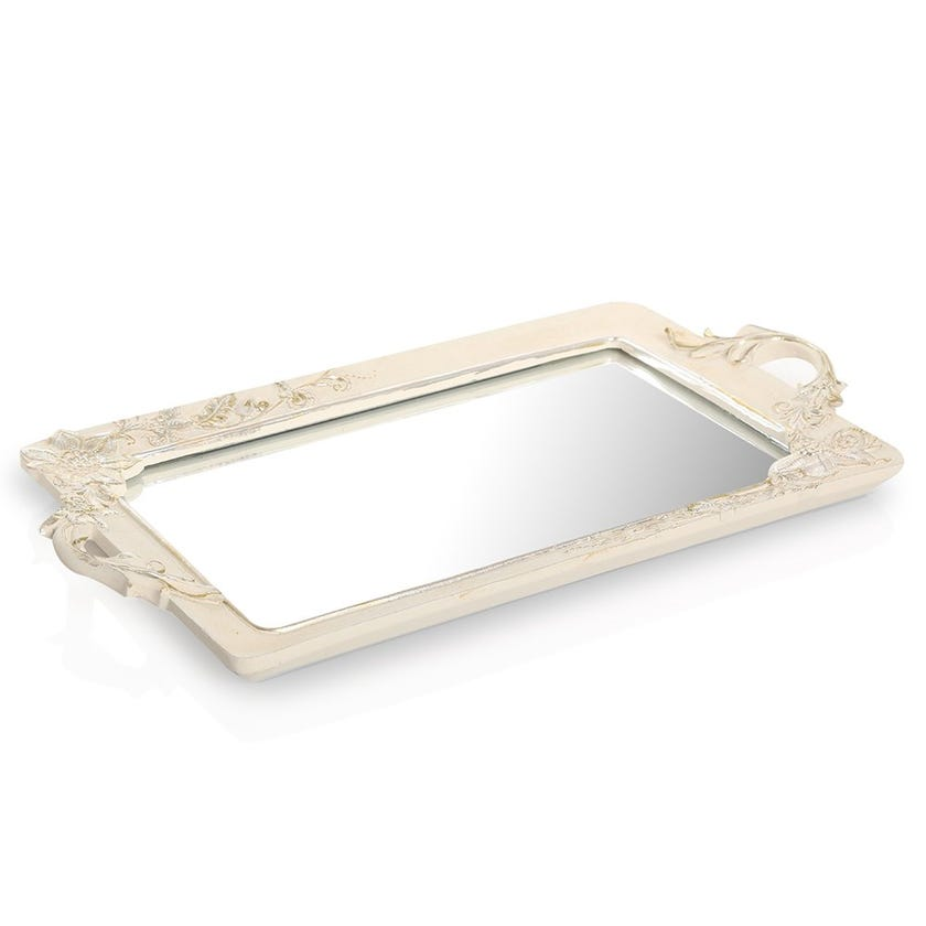 Resin Tray with Mirror, Cream & Gold