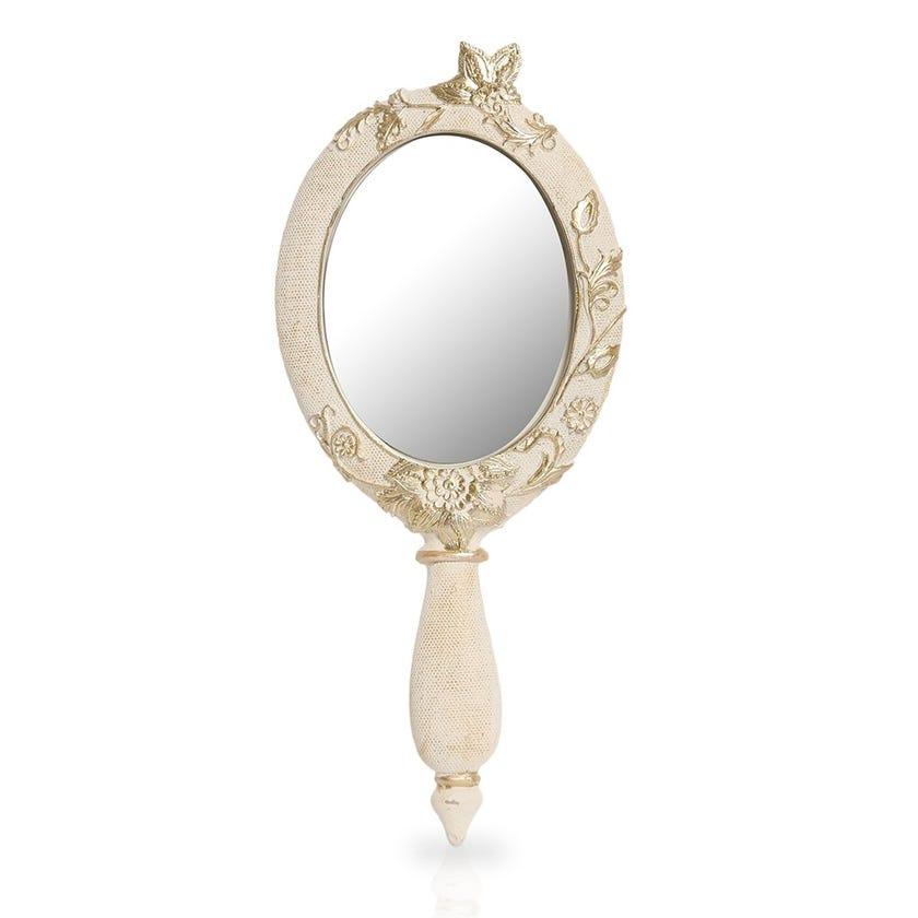 Resin Hand Mirror, Cream & Gold
