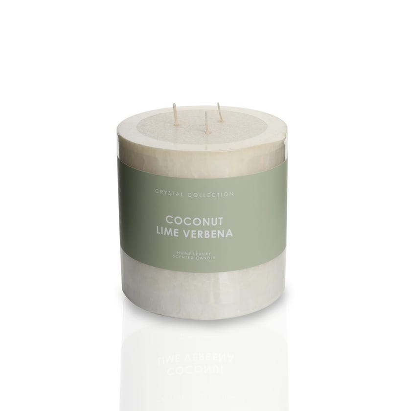 Coco Lime Pillar Candle - 12.5 x 12.5 cms, Ivory