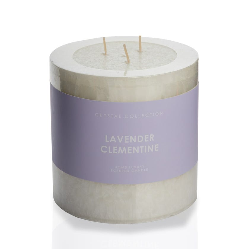 Lavender Clementine Pillar Candle - 12.5 x 12.5 cms, Ivory