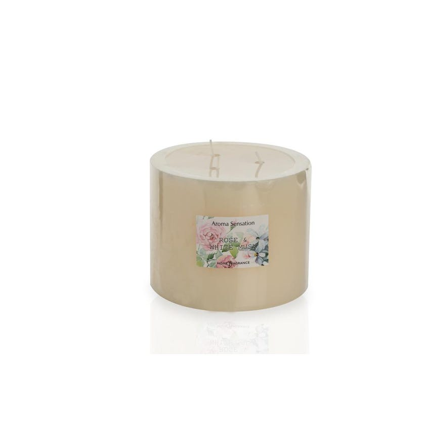 Rose and White Musk Pillar Candle, 12.5 x 10 cms