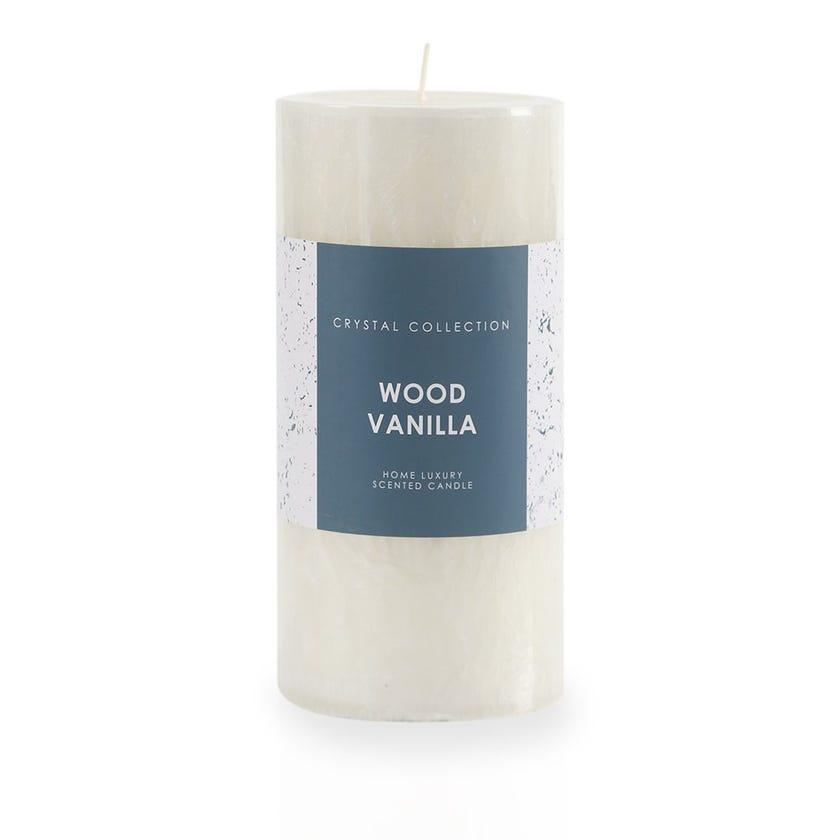 Wood Vanilla Pillar Candle, White – 9x18 cms