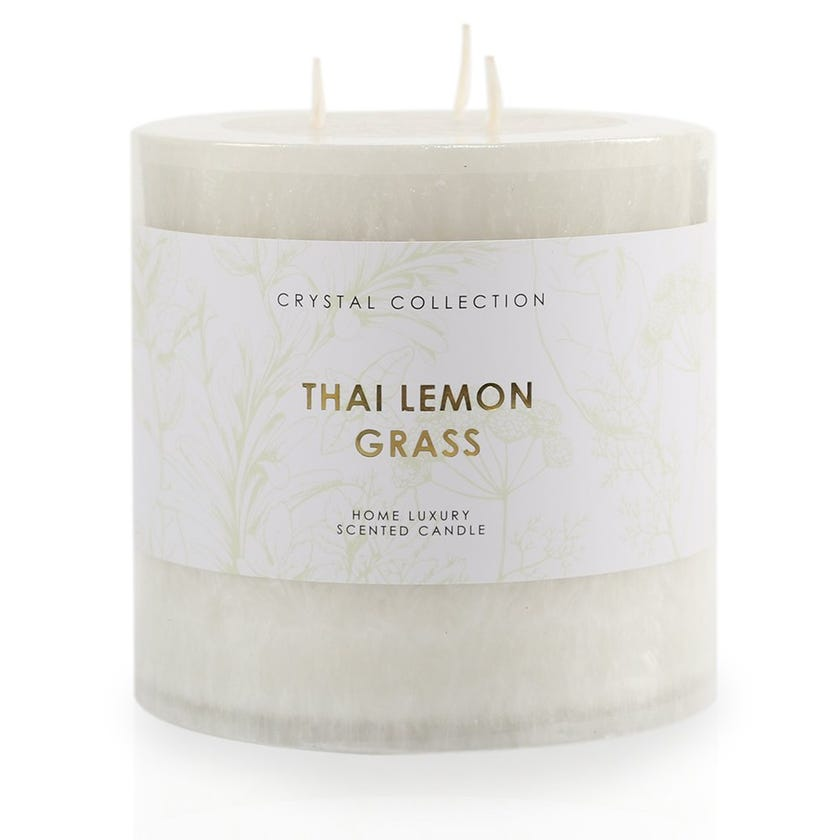 Thai Lemongrass Pillar Candle, White – 12.5x12.5 cms