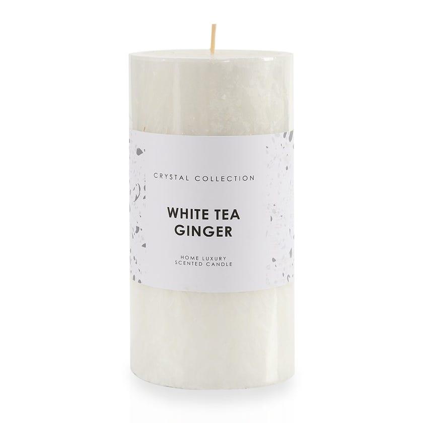White Tea Ginger Pillar Candle, White – 9x18 cms