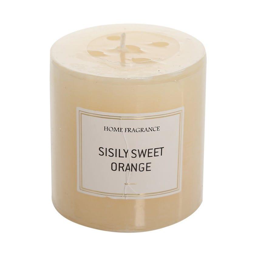 Sisily Sweet Orange Pillar Candle, Ivory – 7 x 6.8 cms