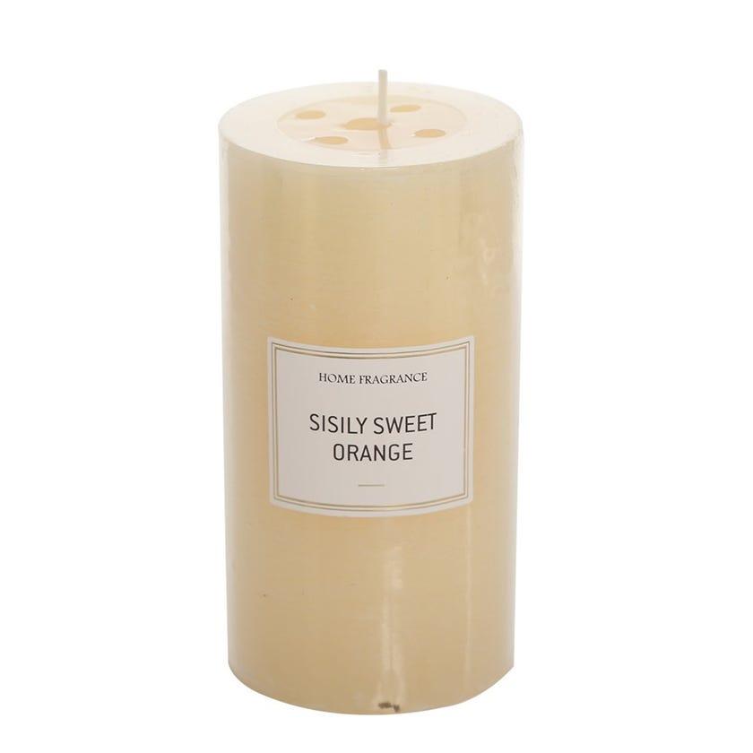 Sisily Sweet Orange Pillar Candle, Ivory – 13 x 6.8 cms