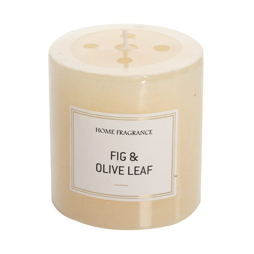 Fig and Olive Leaf Pillar Candle, Ivory – 7 x 6.8 cms