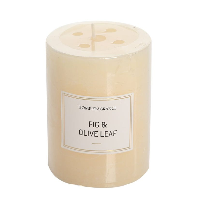 Fig and Olive Leaf Pillar Candle, Ivory – 9 x 6.8 cms