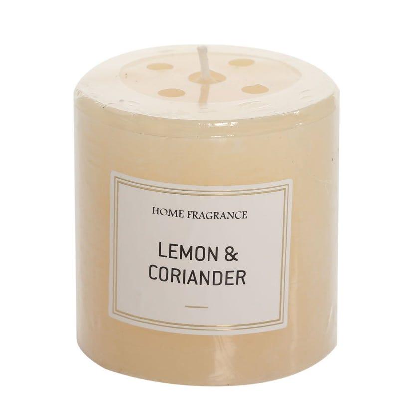 Lemon and Coriander Pillar Candle, Ivory – 7 x 6.8 cms
