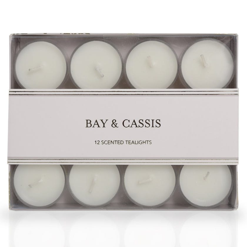 Bay & Cassis Scented Tealight Candles – Set of 12