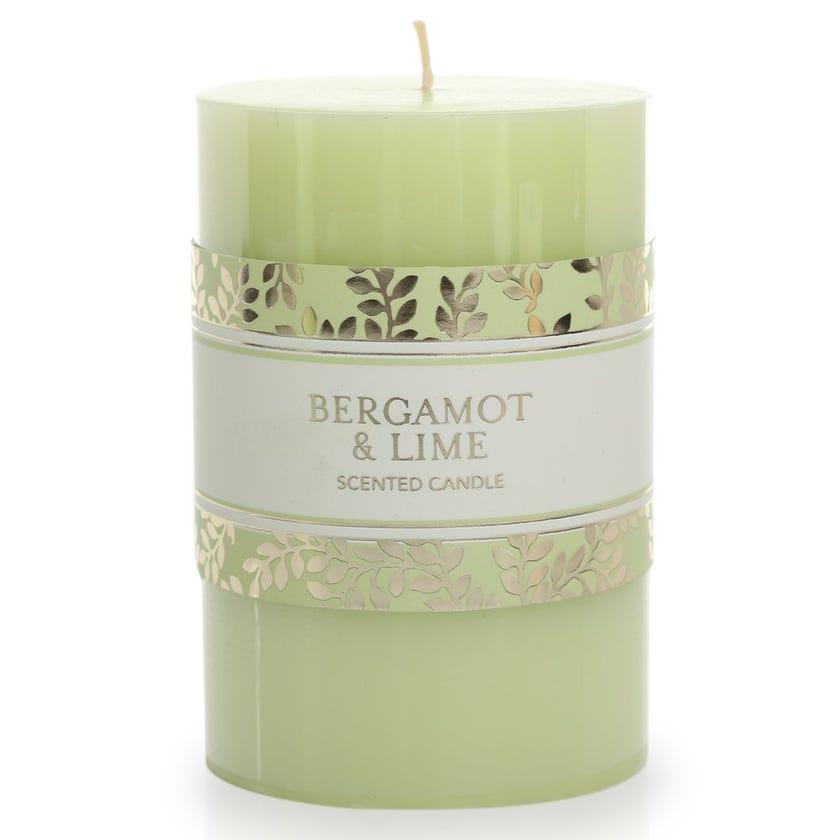 Bergamot & Lime Pillar Candle – 10.16x6.98 cms