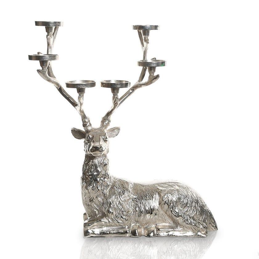 Sitting Reindeer 6-Pillar Candle Holder, Medium