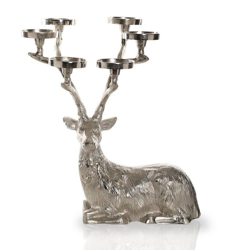 Sitting Reindeer 6-Pillar Candle Holder, Small