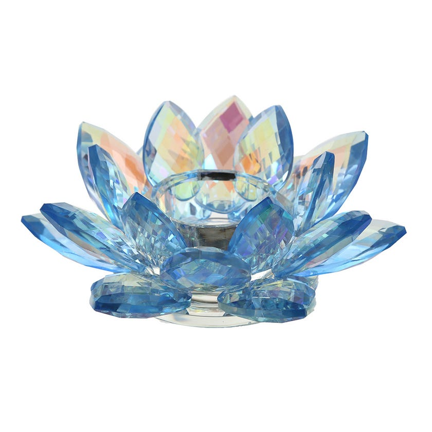 Cheska Lotus Candle Holder, Blue