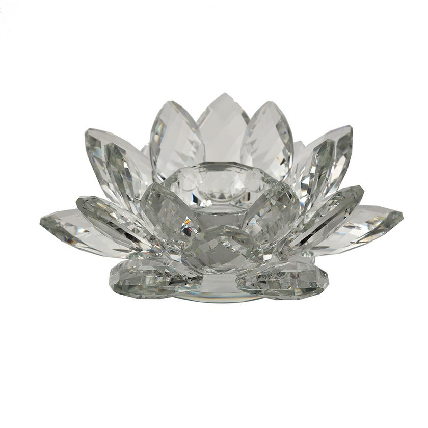 Cheska Lotus Candle Holder, Clear