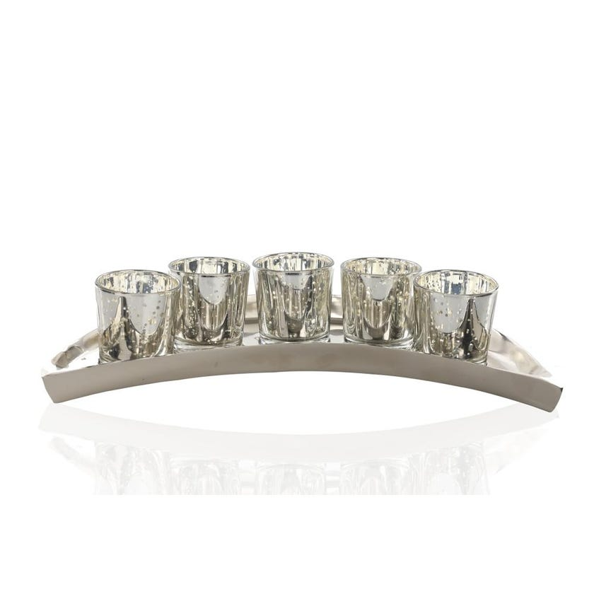 Moon Shaped Candle Holder - Nickel