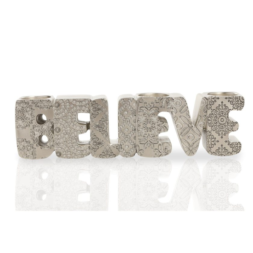 Polyresin Word Tealight Candle Holder - Believe