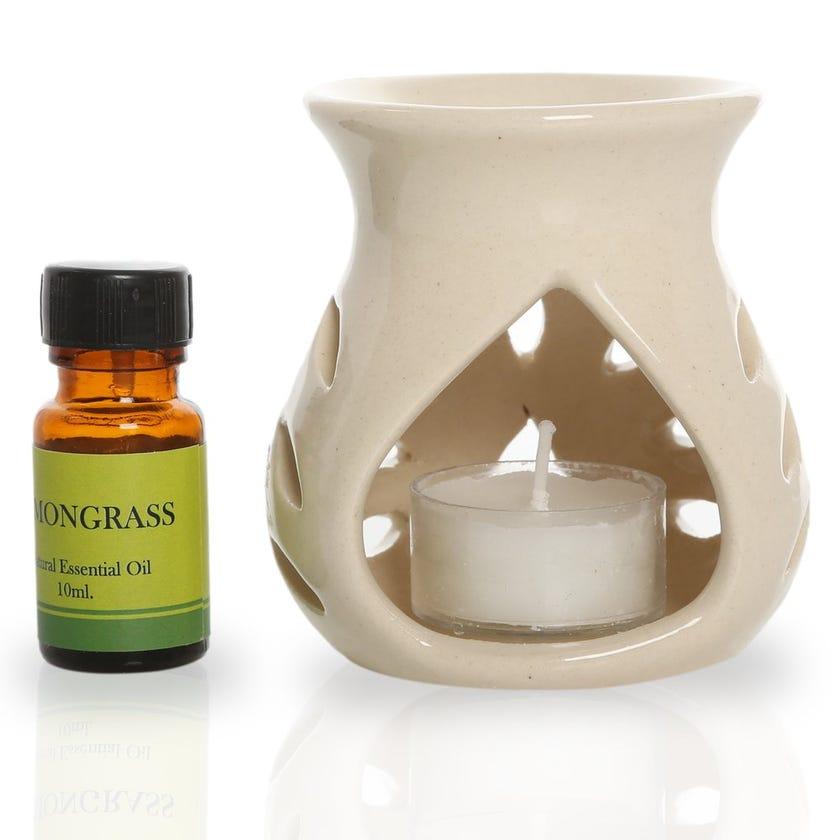 Lemongrass Ceramic Oil Burner Gift Set